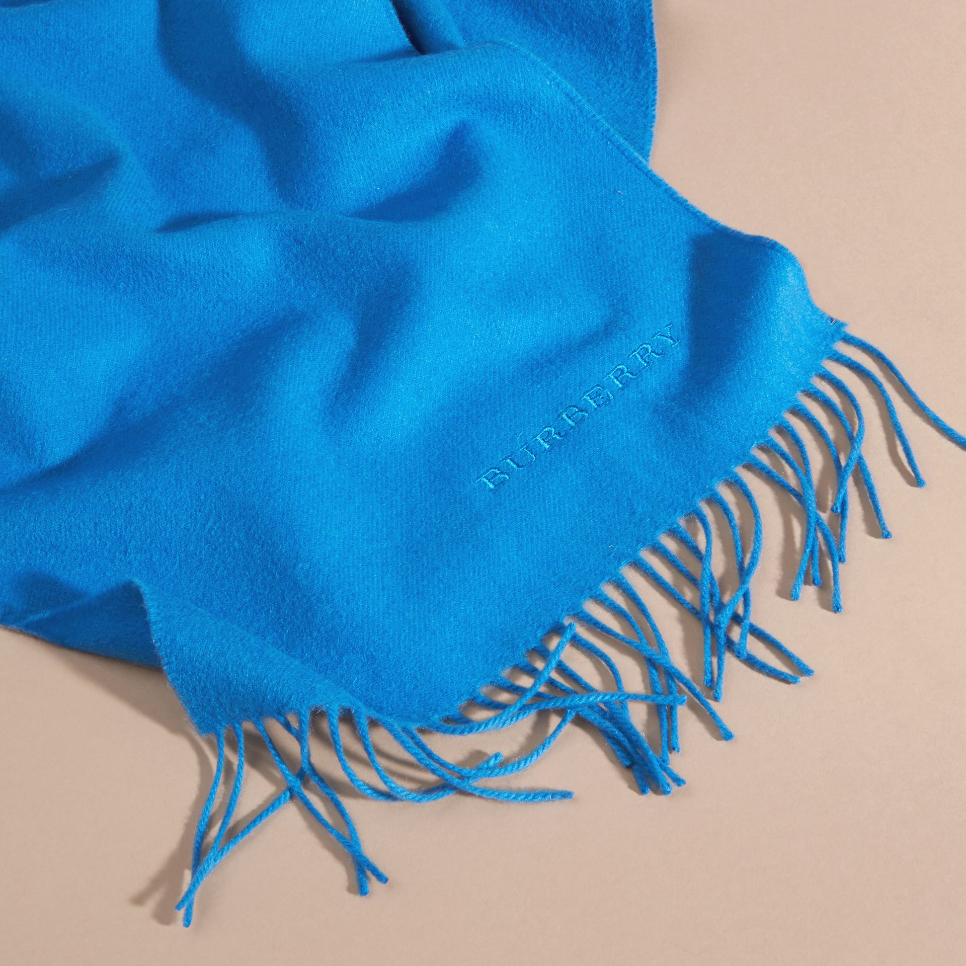 The Classic Cashmere Scarf Bright Cornflower Blue - gallery image 5