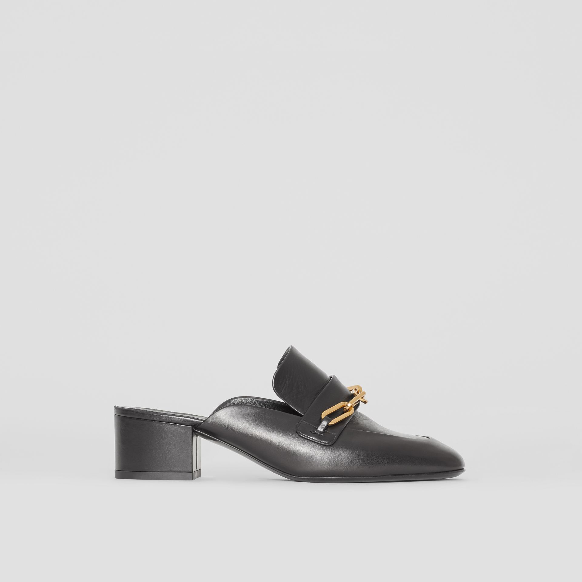 Link Detail Leather Block-heel Mules in Black - Women | Burberry Canada - gallery image 5