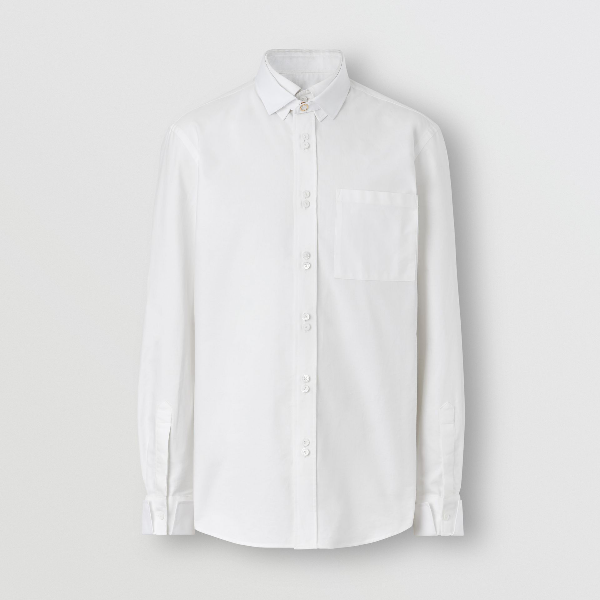 Classic Fit Detachable Collar Cotton Shirt in Optic White - Men | Burberry - gallery image 3