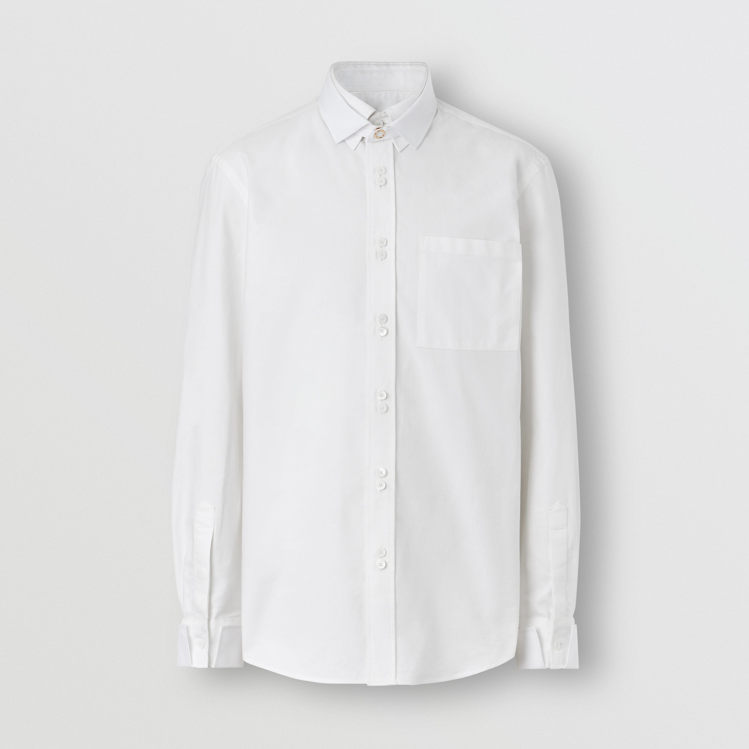 Classic Fit Detachable Collar Cotton Shirt in Optic White - Men | Burberry - 4