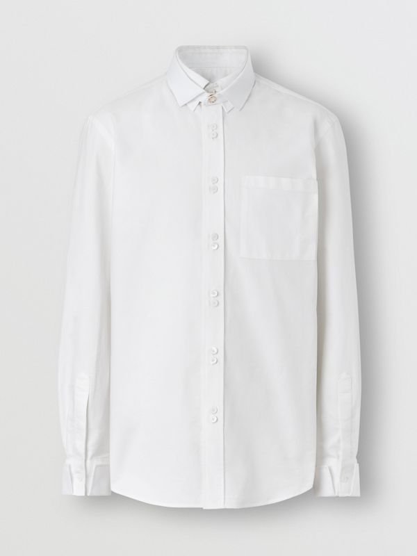 Classic Fit Detachable Collar Cotton Shirt in Optic White - Men | Burberry Singapore - cell image 3