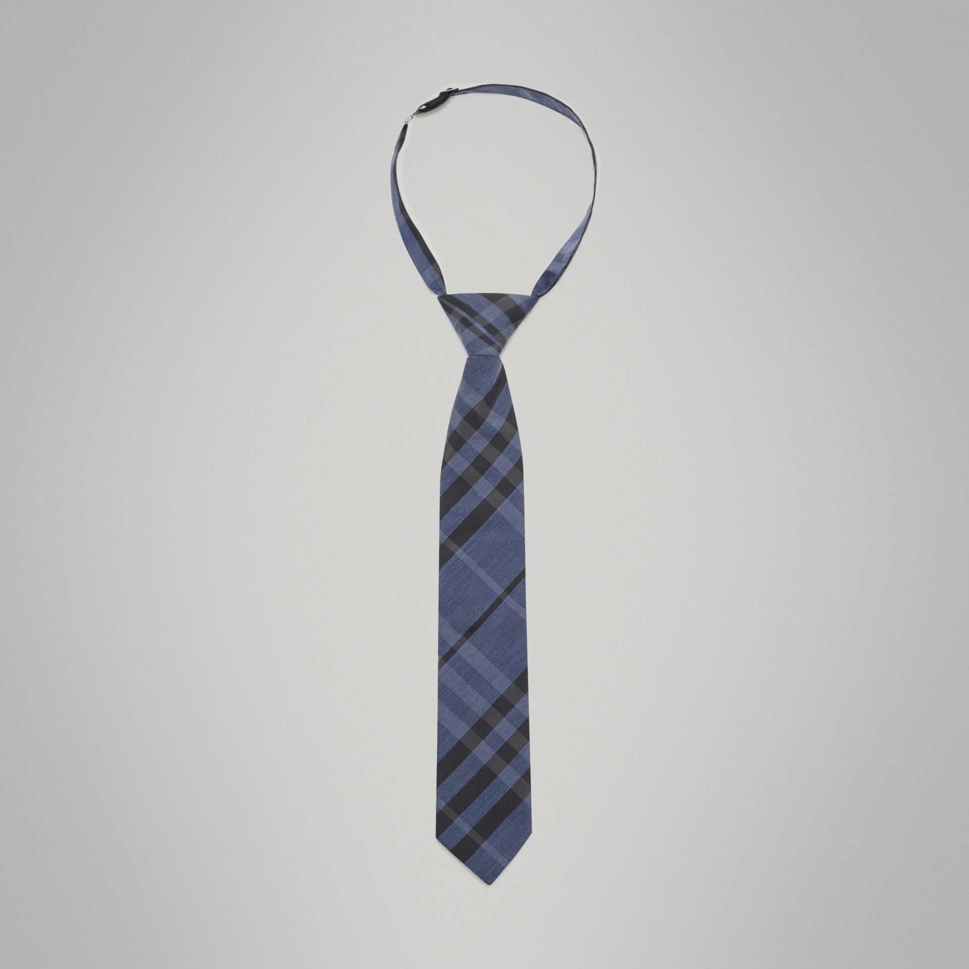 Modern Cut Check Silk Cotton Tie in Dark Mineral Blue - Boy | Burberry - gallery image 0