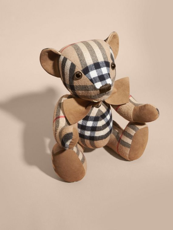 Large Thomas Bear in Check Cashmere in Camel | Burberry - cell image 2