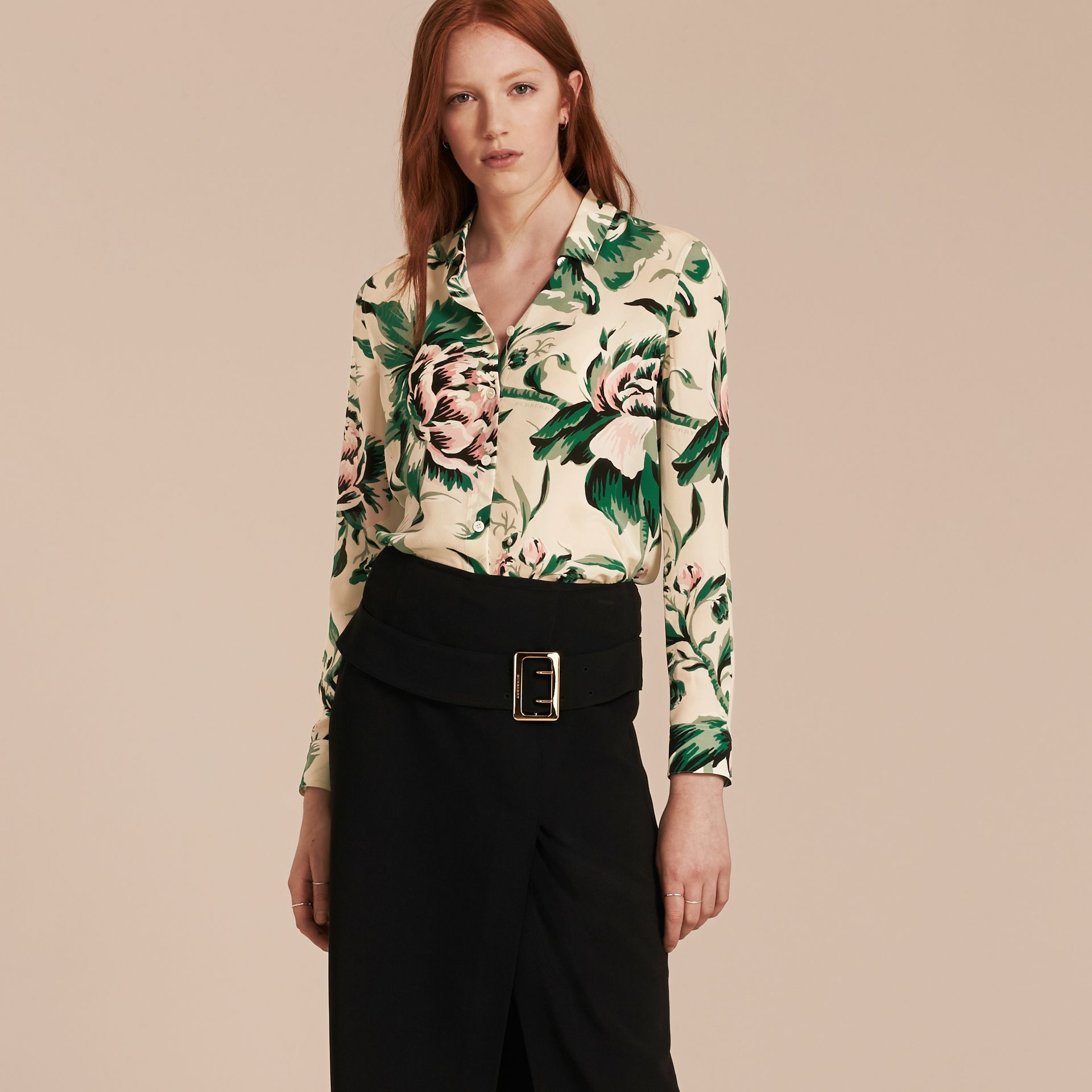 Emerald green Peony Rose Print Silk Shirt - gallery image 6