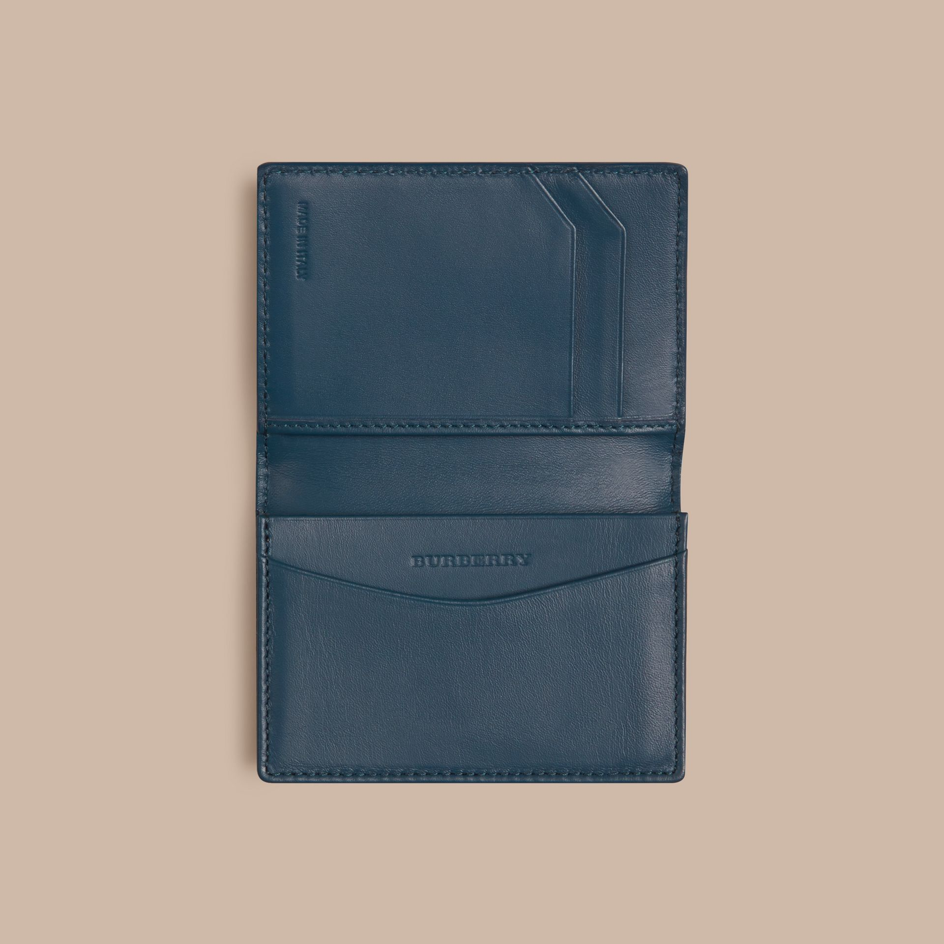 London Leather Folding Card Case Mineral Blue - gallery image 4