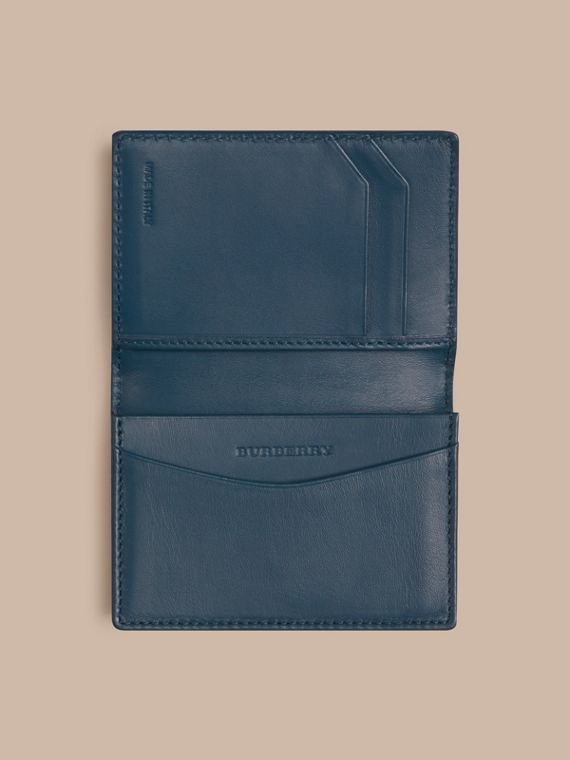 London Leather Folding Card Case Mineral Blue - cell image 3