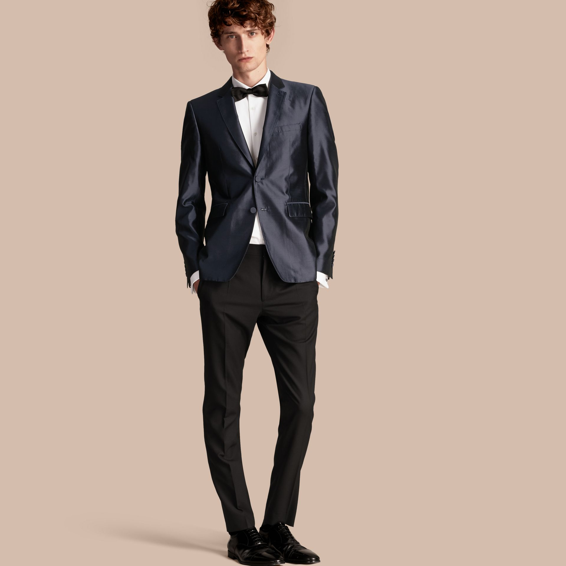 Slim Fit Tailored Silk Jacket - gallery image 1