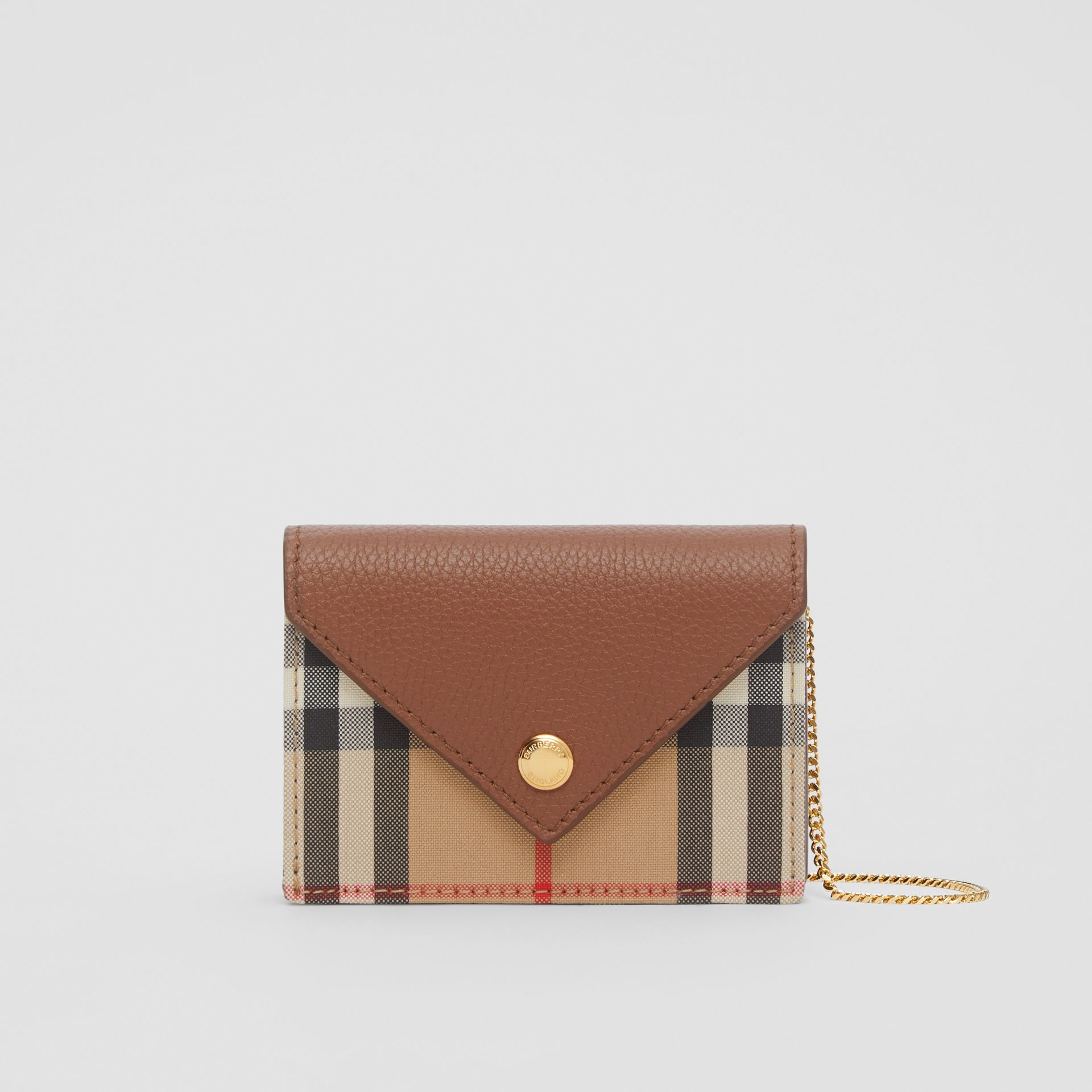 Vintage Check and Leather Card Case with Strap in Tan - Women | Burberry - gallery image 0