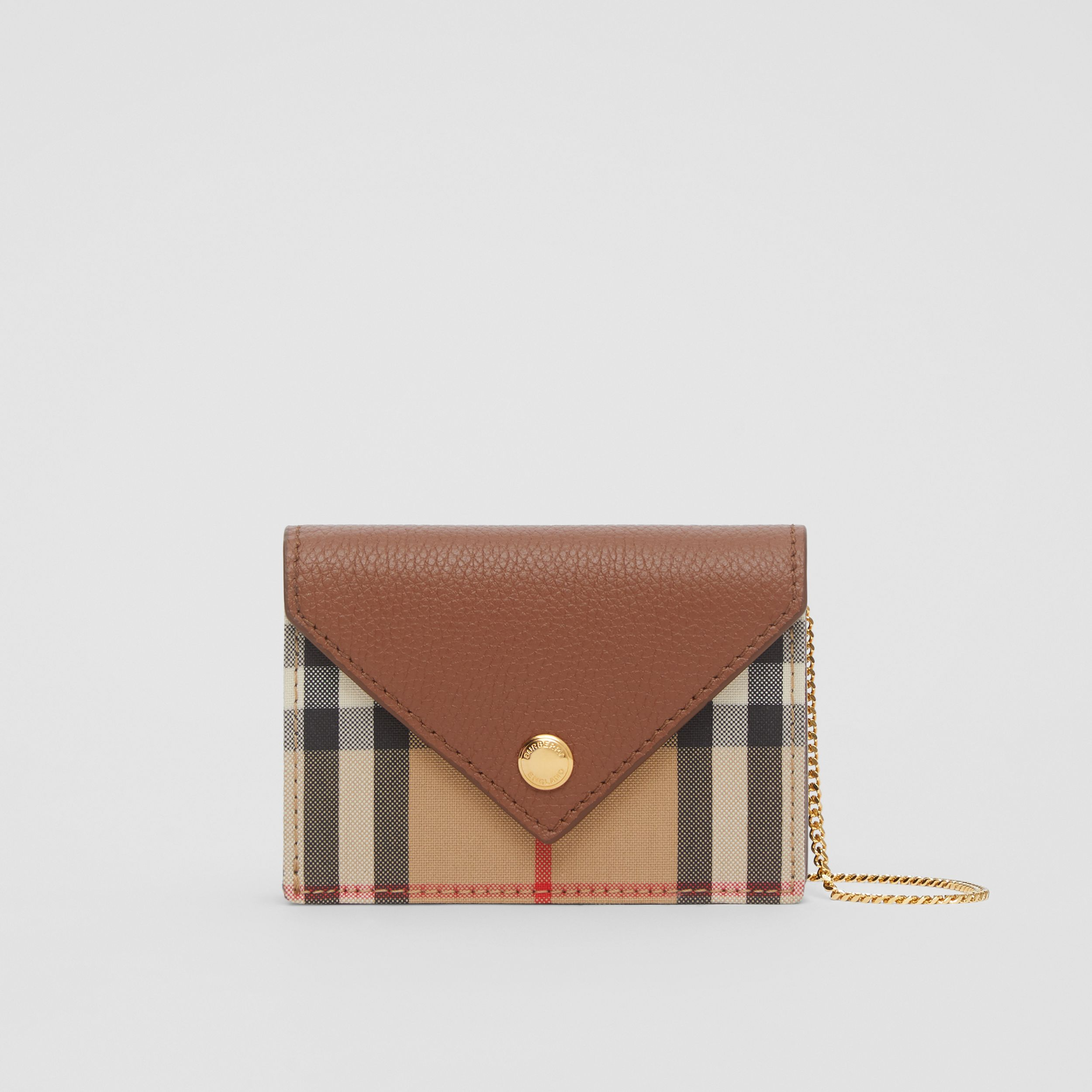 Vintage Check and Leather Card Case with Strap in Tan - Women | Burberry - 1