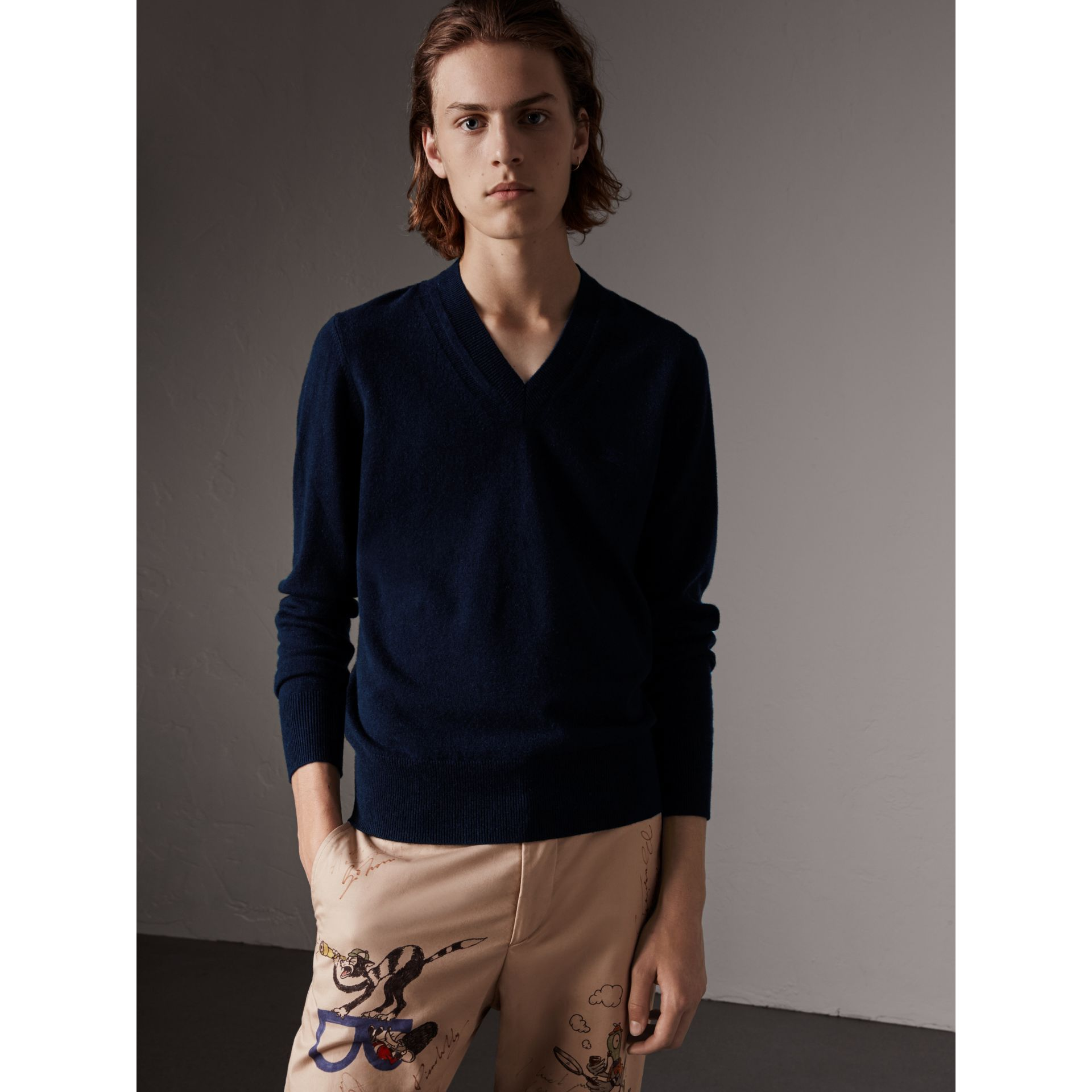 Cashmere V-neck Sweater in Navy - Men | Burberry - gallery image 1