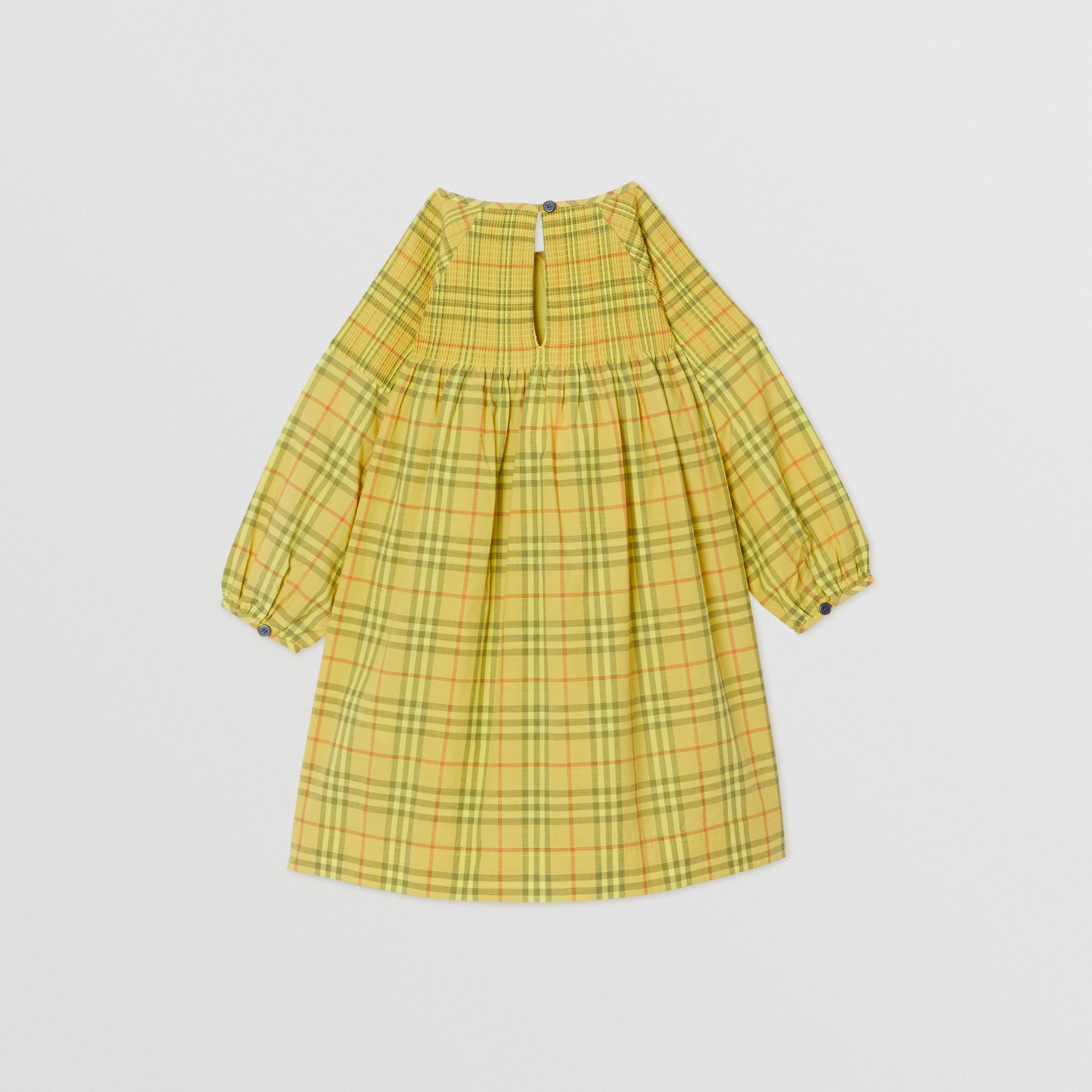Robe en coton à motif check et smocks (Jaune Agrume) - Fille | Burberry - photo de la galerie 3