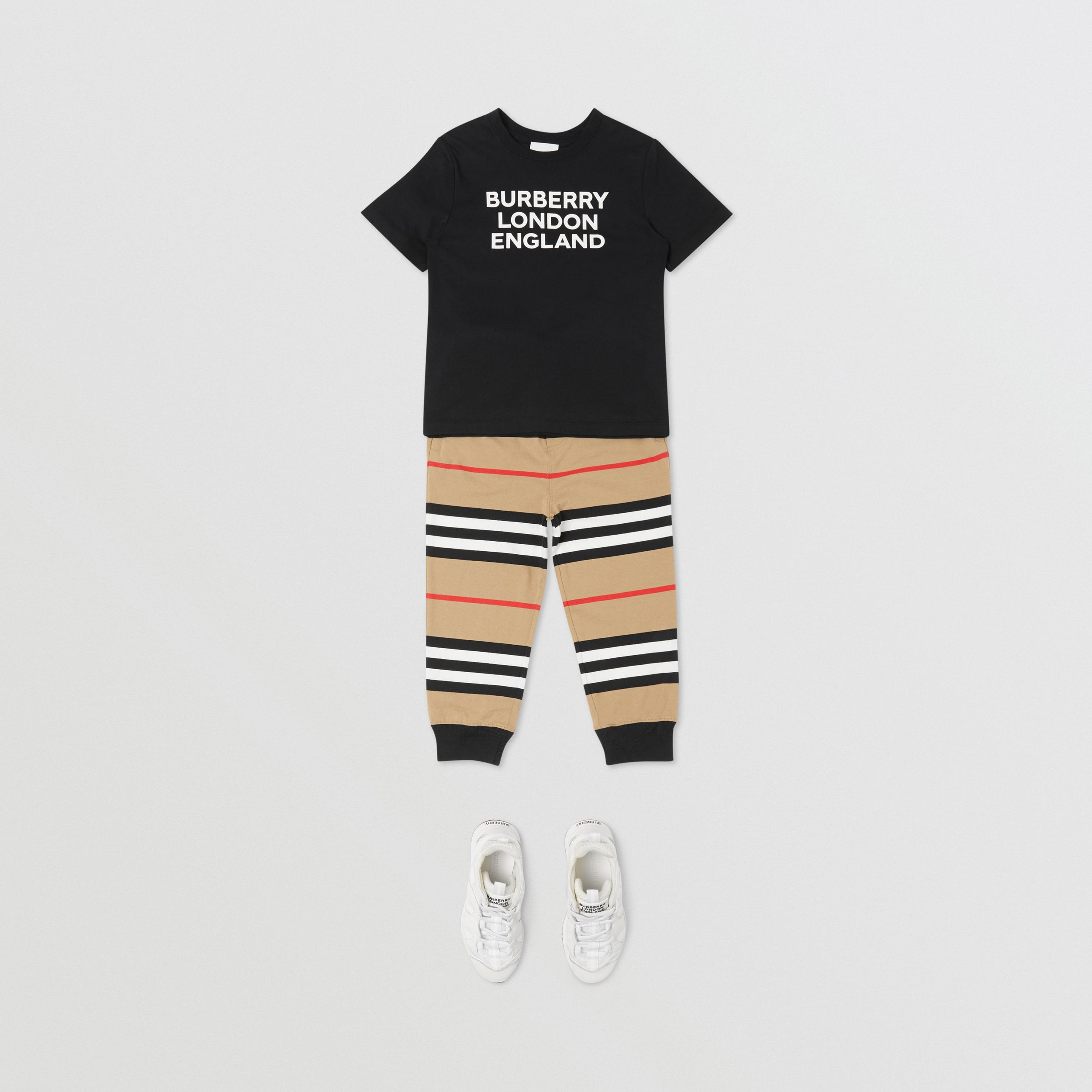 Icon Stripe Cotton Jogging Pants in Archive Beige | Burberry - 3