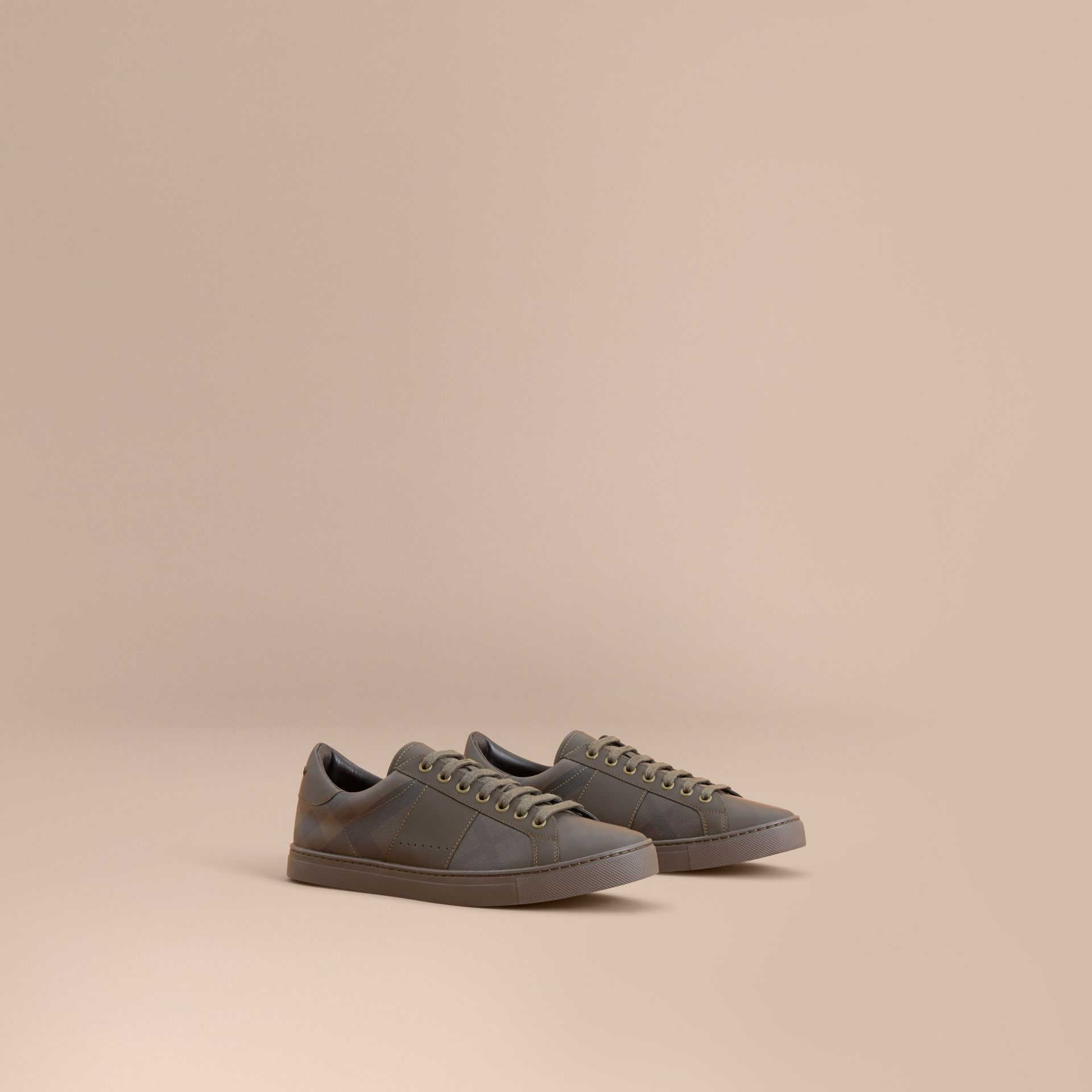 Check Detail Leather Trainers in Peppercorn - Men | Burberry - gallery image 1