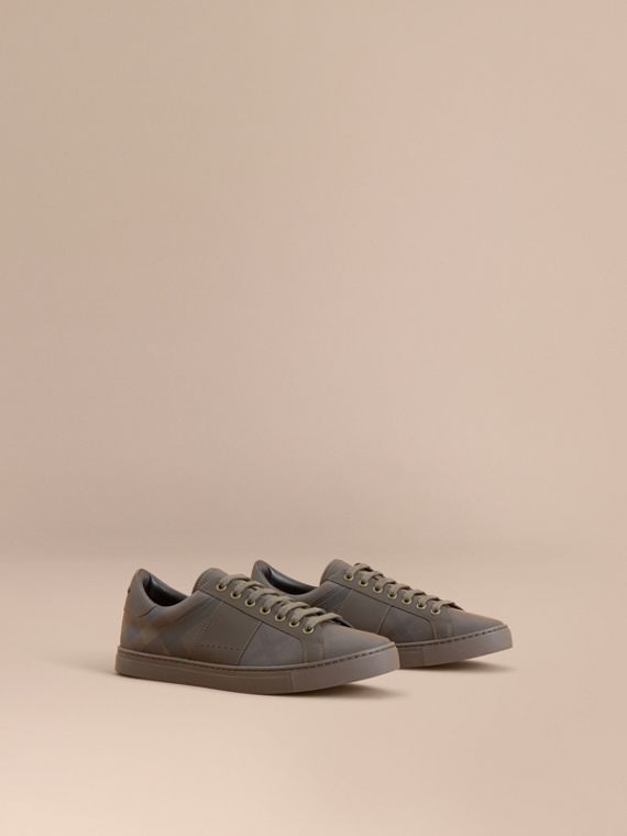 Check Detail Leather Trainers in Peppercorn - Men | Burberry