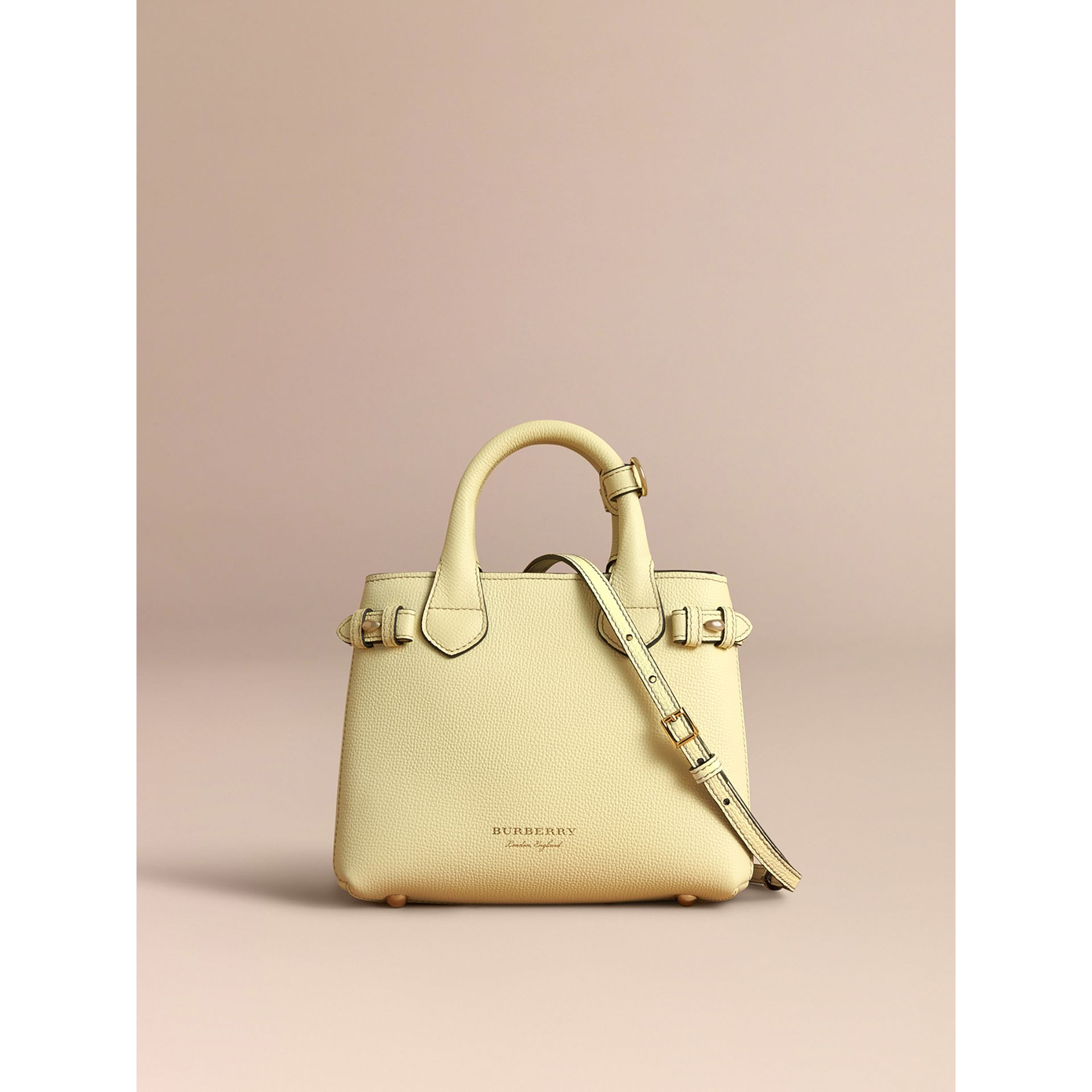 The Baby Banner in Leather and House Check in Camomile Yellow - Women | Burberry - gallery image 7