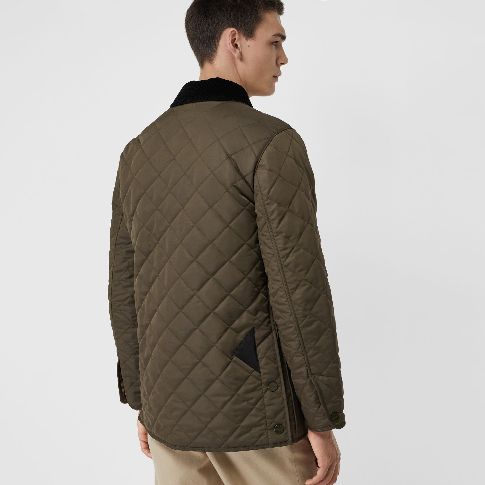 Diamond Quilted Thermoregulated Barn Jacket in Dark Olive - Men | Burberry Canada - gallery image 2