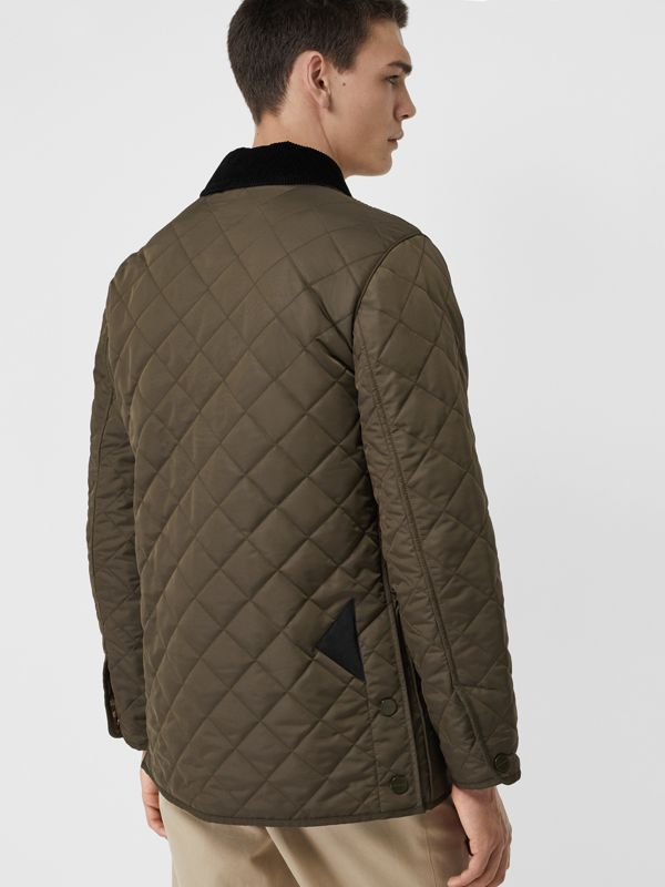 Diamond Quilted Thermoregulated Barn Jacket in Dark Olive - Men | Burberry Canada - cell image 2