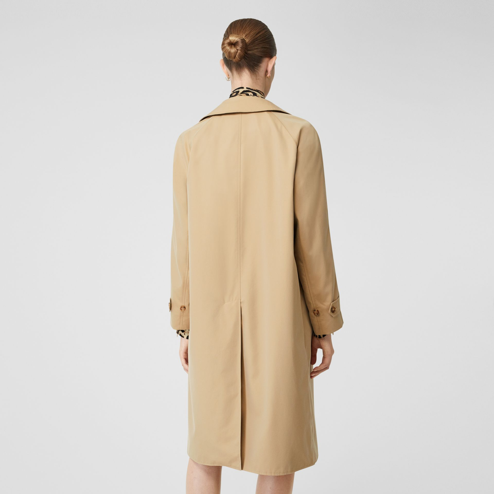 Leopard Print-lined Cotton Gabardine Car Coat in Honey - Women | Burberry Australia - gallery image 2