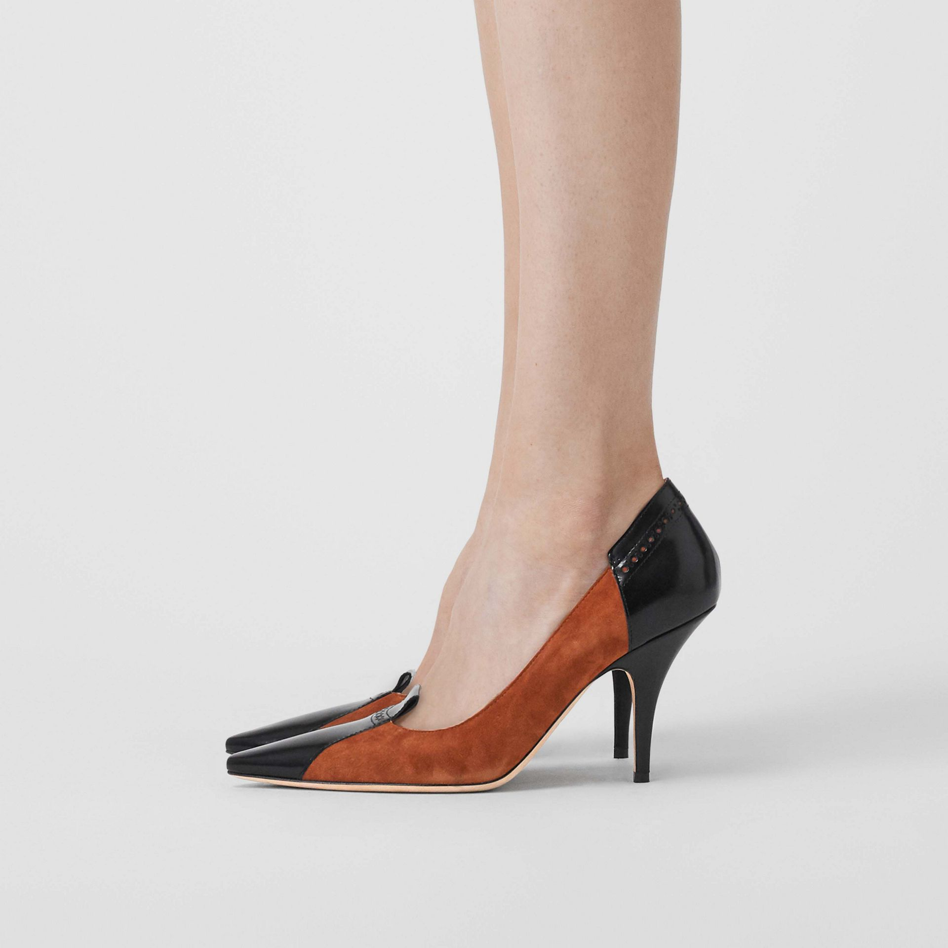 Brogue Detail Two-tone Suede and Leather Pumps in Tan - Women | Burberry - gallery image 2