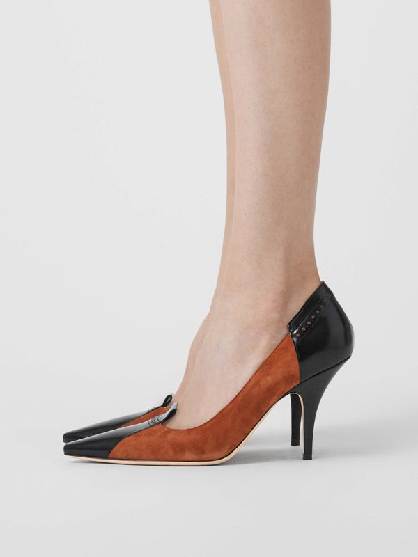 Brogue Detail Two-tone Suede and Leather Pumps in Tan - Women | Burberry - cell image 2