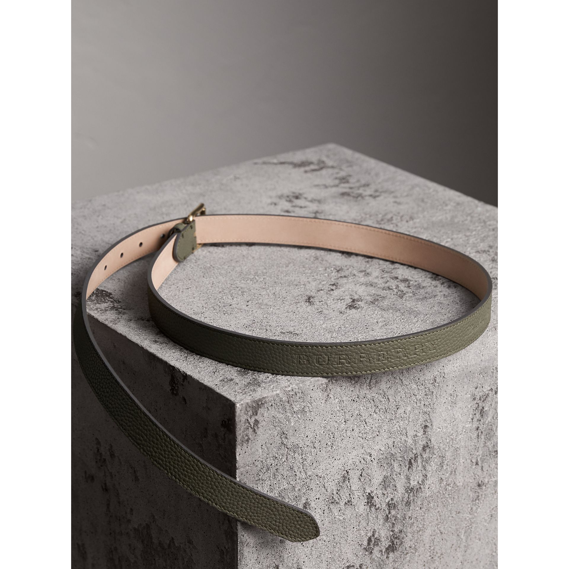 Embossed Leather Belt in Slate Green - Women | Burberry - gallery image 3