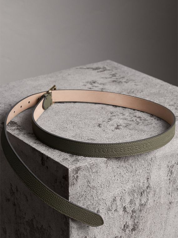 Embossed Leather Belt in Slate Green - Women | Burberry - cell image 3