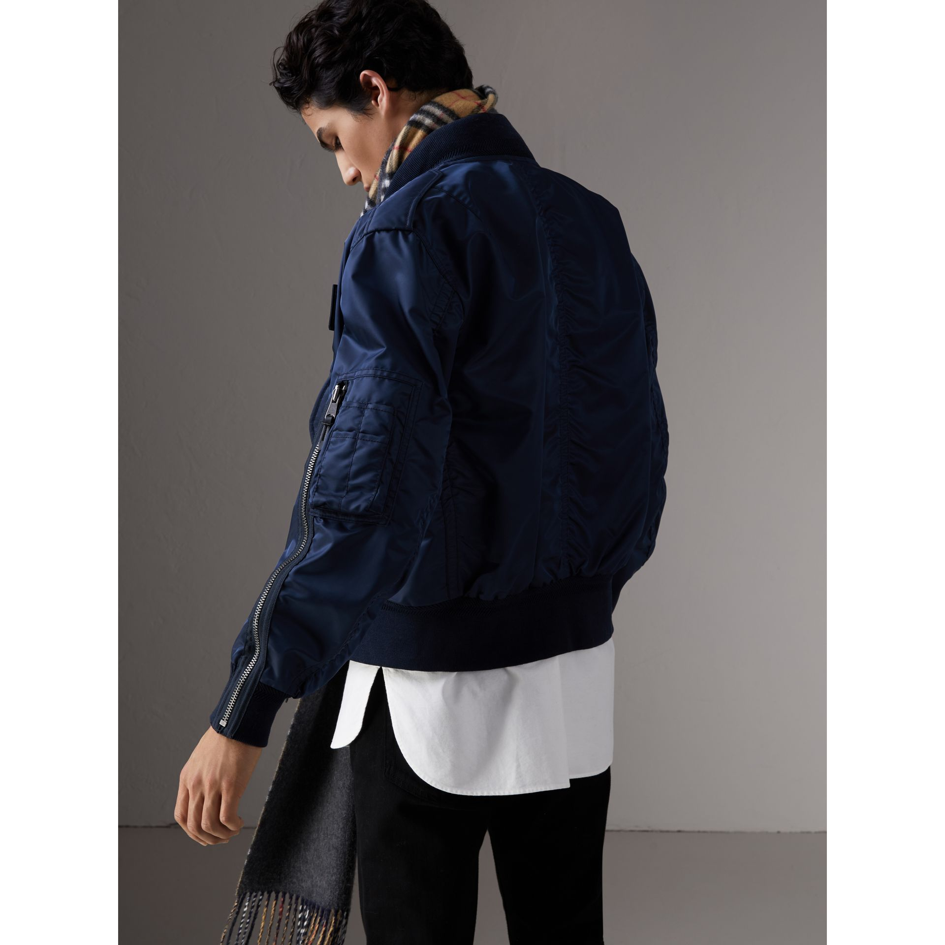 Zip Detail Cropped Bomber Jacket in Navy - Men | Burberry - gallery image 3