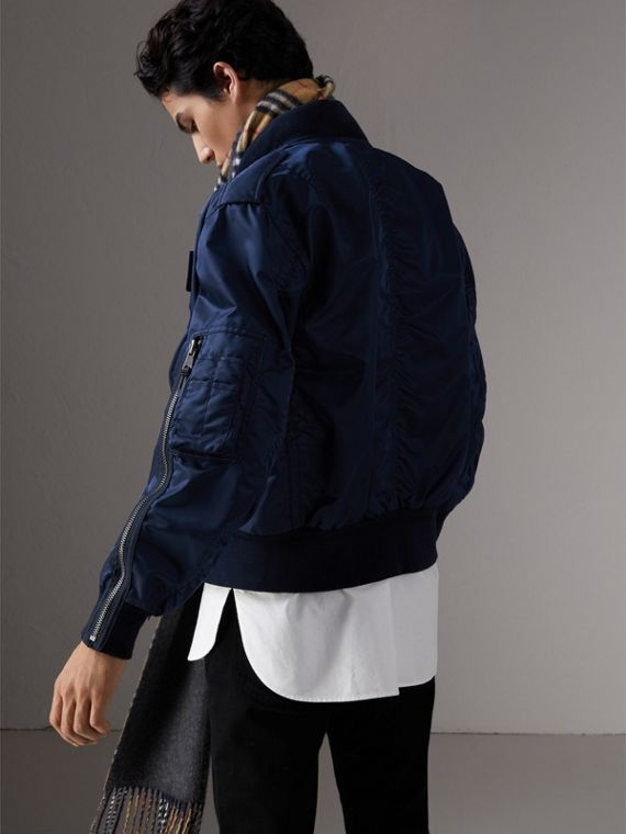 Zip Detail Cropped Bomber Jacket in Navy
