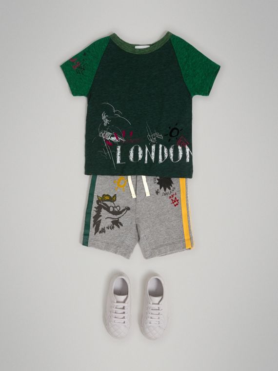 Raglan-sleeve Adventure Motif Cotton Blend T-shirt in Forest Green - Boy | Burberry - cell image 2