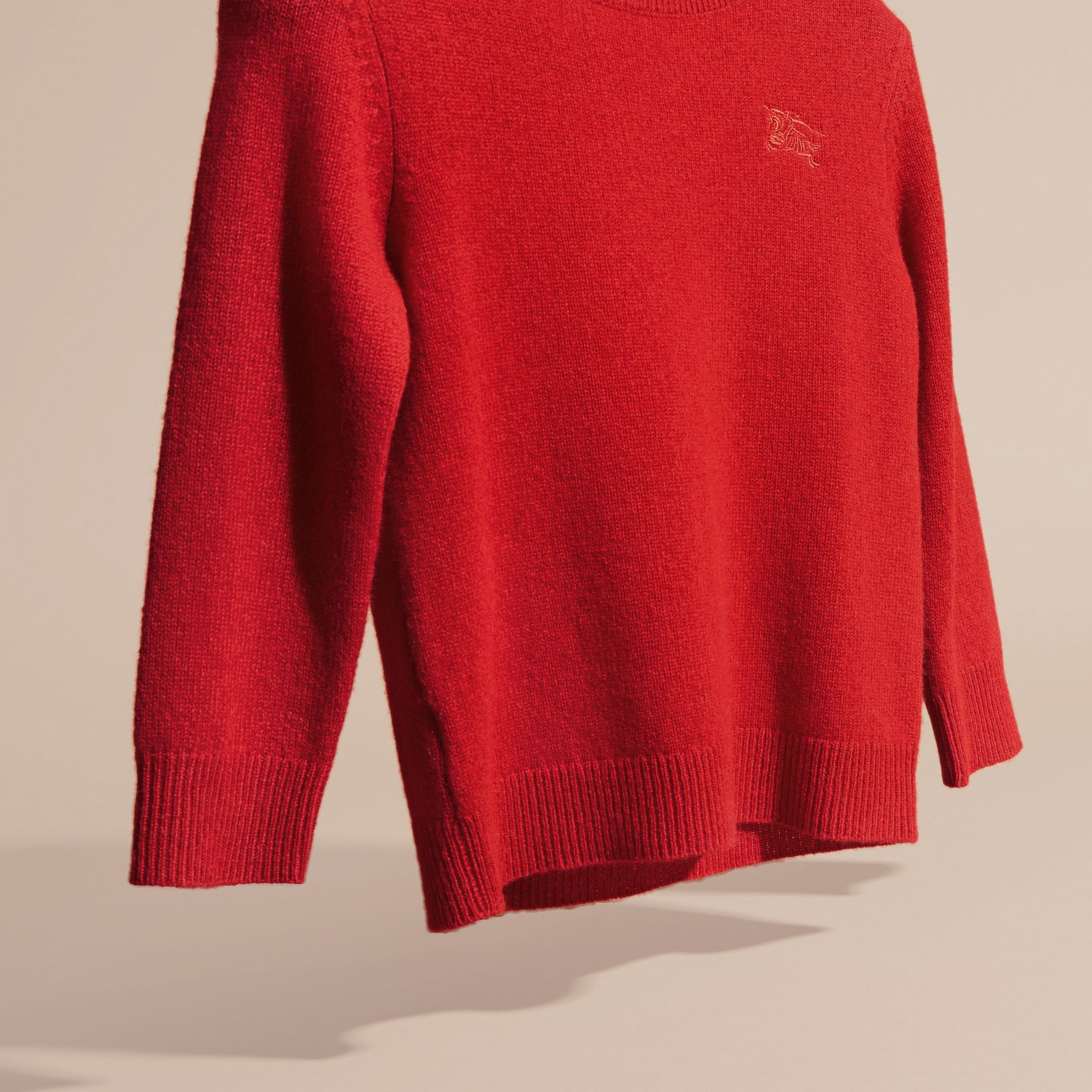 Check Elbow Patch Cashmere Sweater in Parade Red - gallery image 3