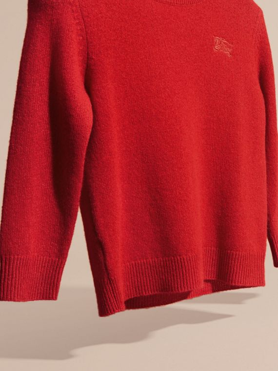 Check Elbow Patch Cashmere Sweater in Parade Red - cell image 2