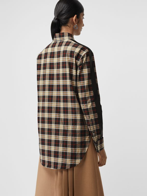 Stripe Detail Check Cotton Shirt in Midnight - Women | Burberry Australia - cell image 2