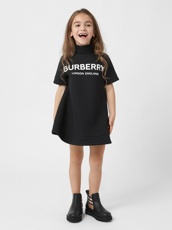 Logo Print Funnel Neck Dress in Black | Burberry Australia - cell image 2
