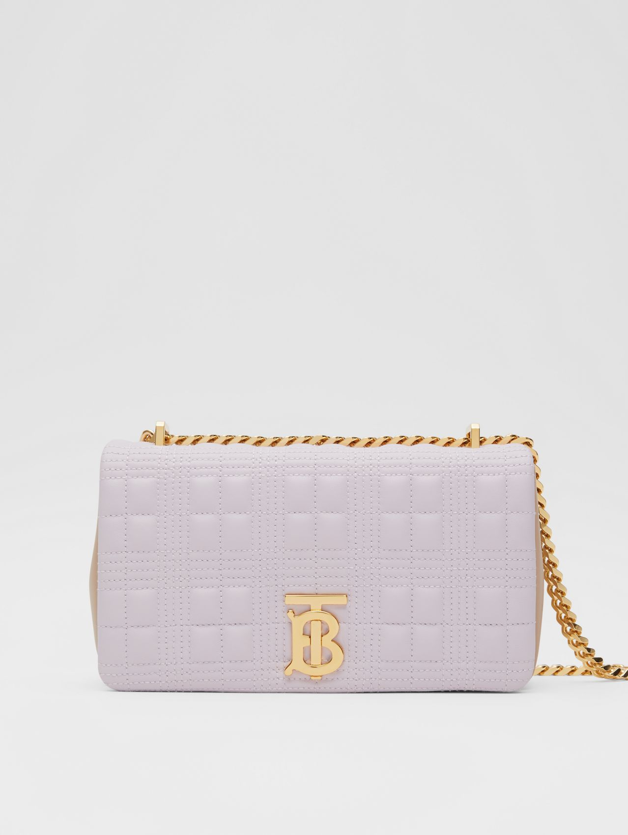 Small Quilted Two-tone Lambskin Lola Bag in Pale Thistle/soft Fawn