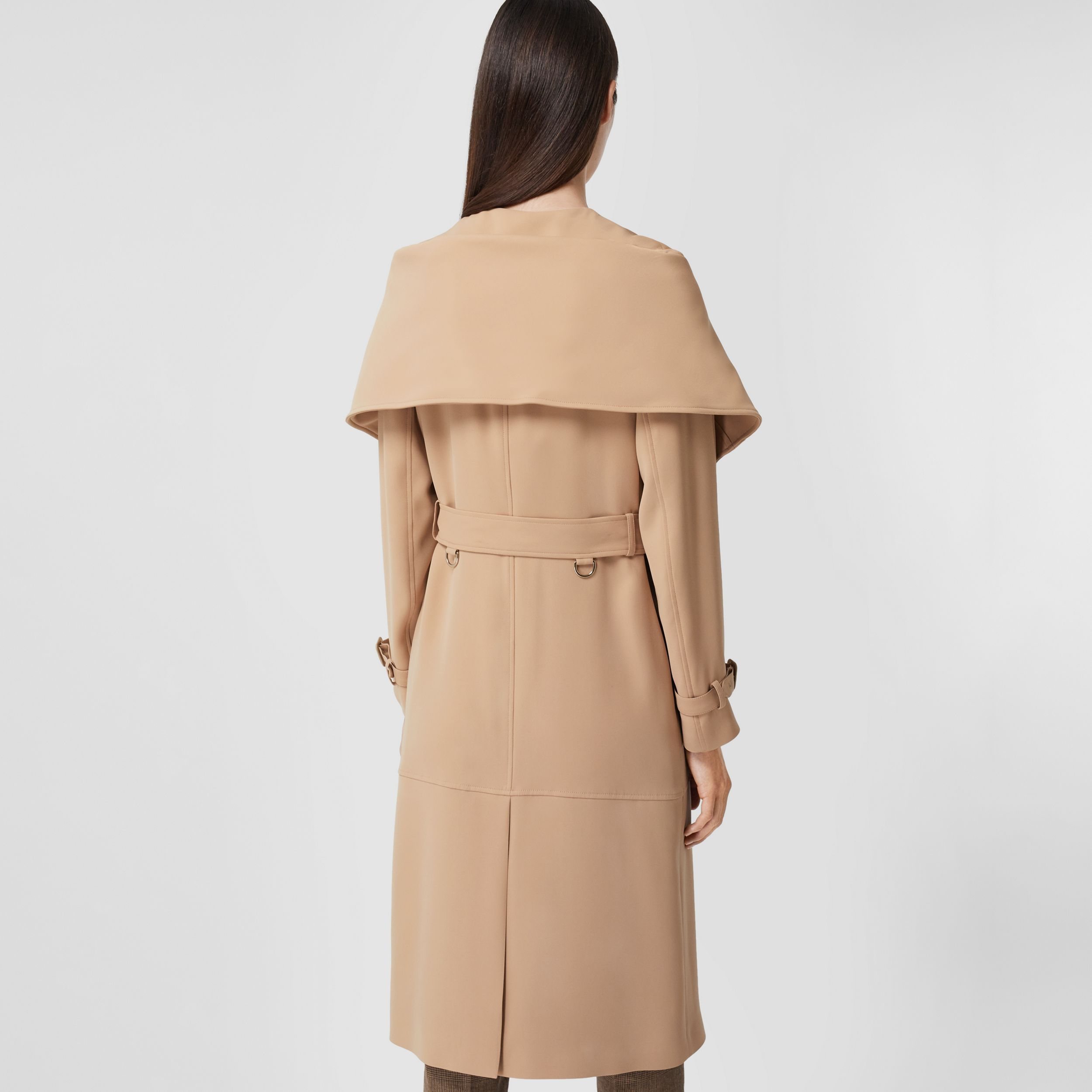 Silk Cady Reconstructed Trench Coat in Dark Biscuit - Women | Burberry Canada - 3