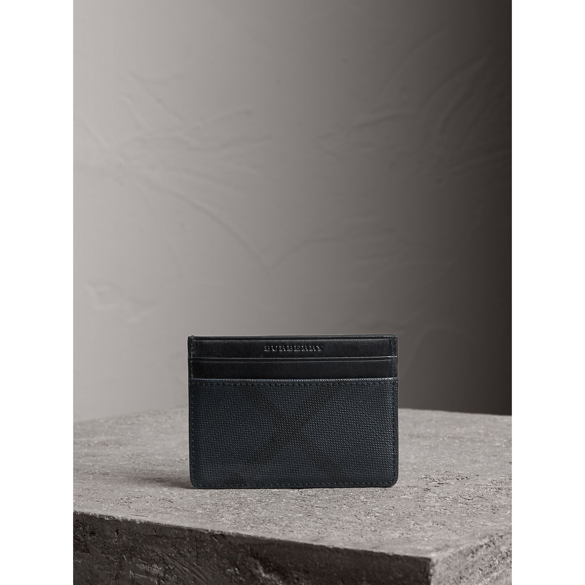 London Check Card Case in Navy/black | Burberry - gallery image 3