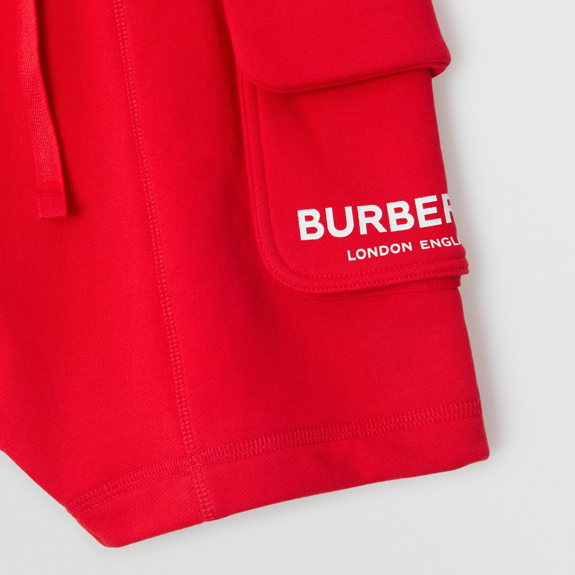 Logo Print Cotton Drawcord Shorts in Bright Red | Burberry - gallery image 5