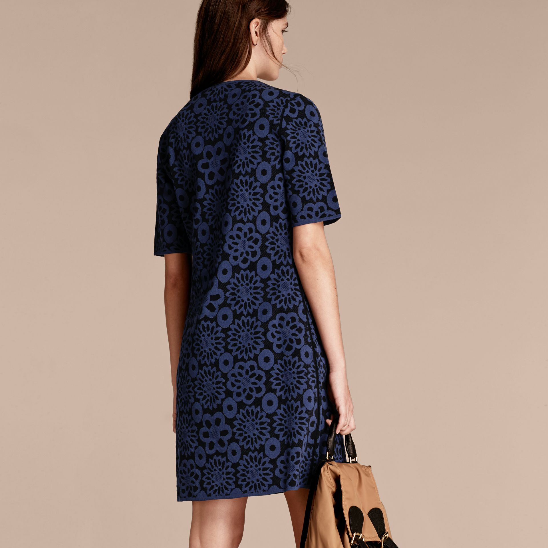 Navy Floral Jacquard Shift Dress - gallery image 3