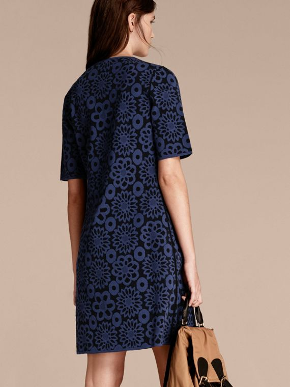 Navy Floral Jacquard Shift Dress - cell image 2