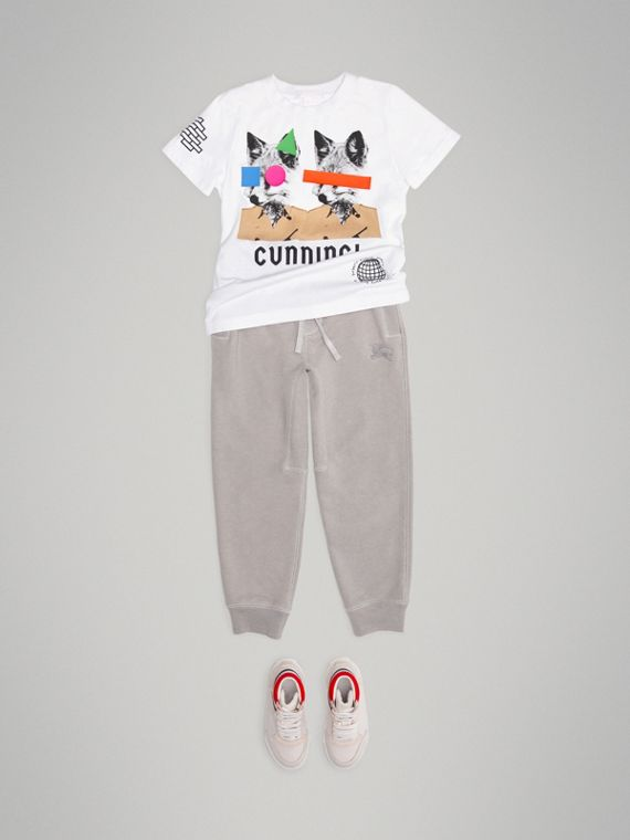 T-shirt in cotone con stampa volpe (Bianco)
