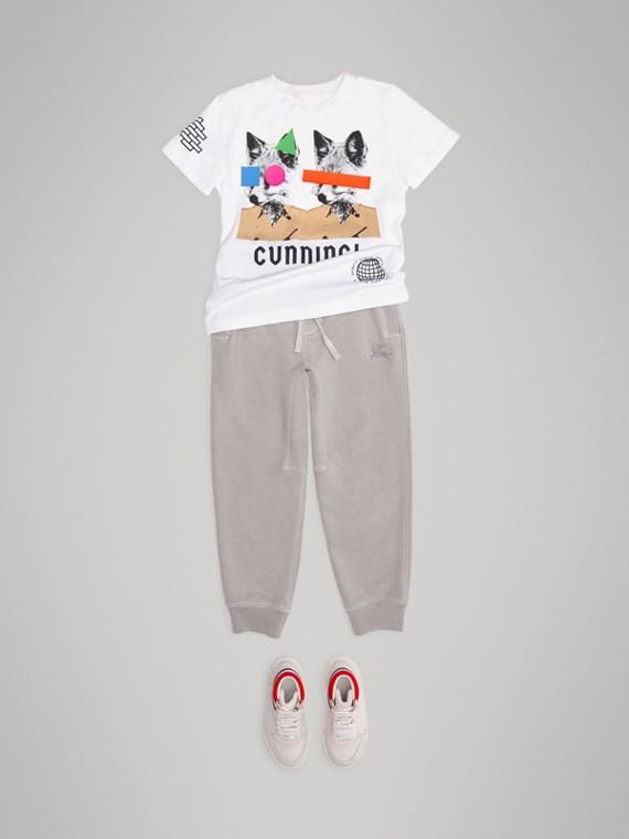 狐狸印花棉質 T 恤 (白色)