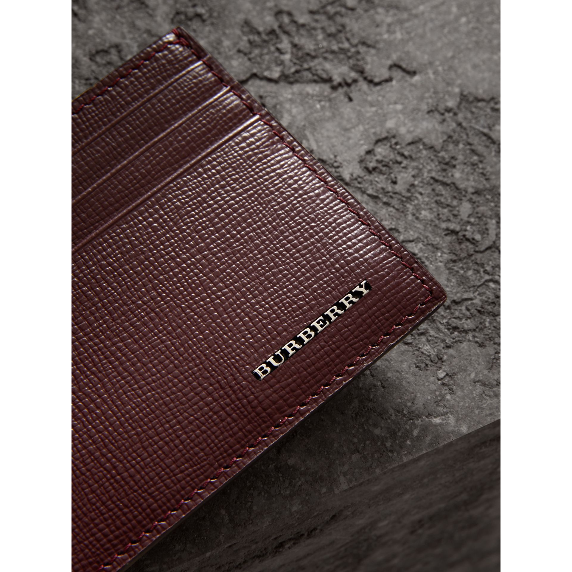 London Leather Card Case in Burgundy Red | Burberry United States - gallery image 1