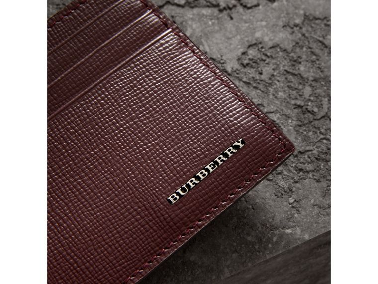 London Leather Card Case in Burgundy Red | Burberry United Kingdom - cell image 1