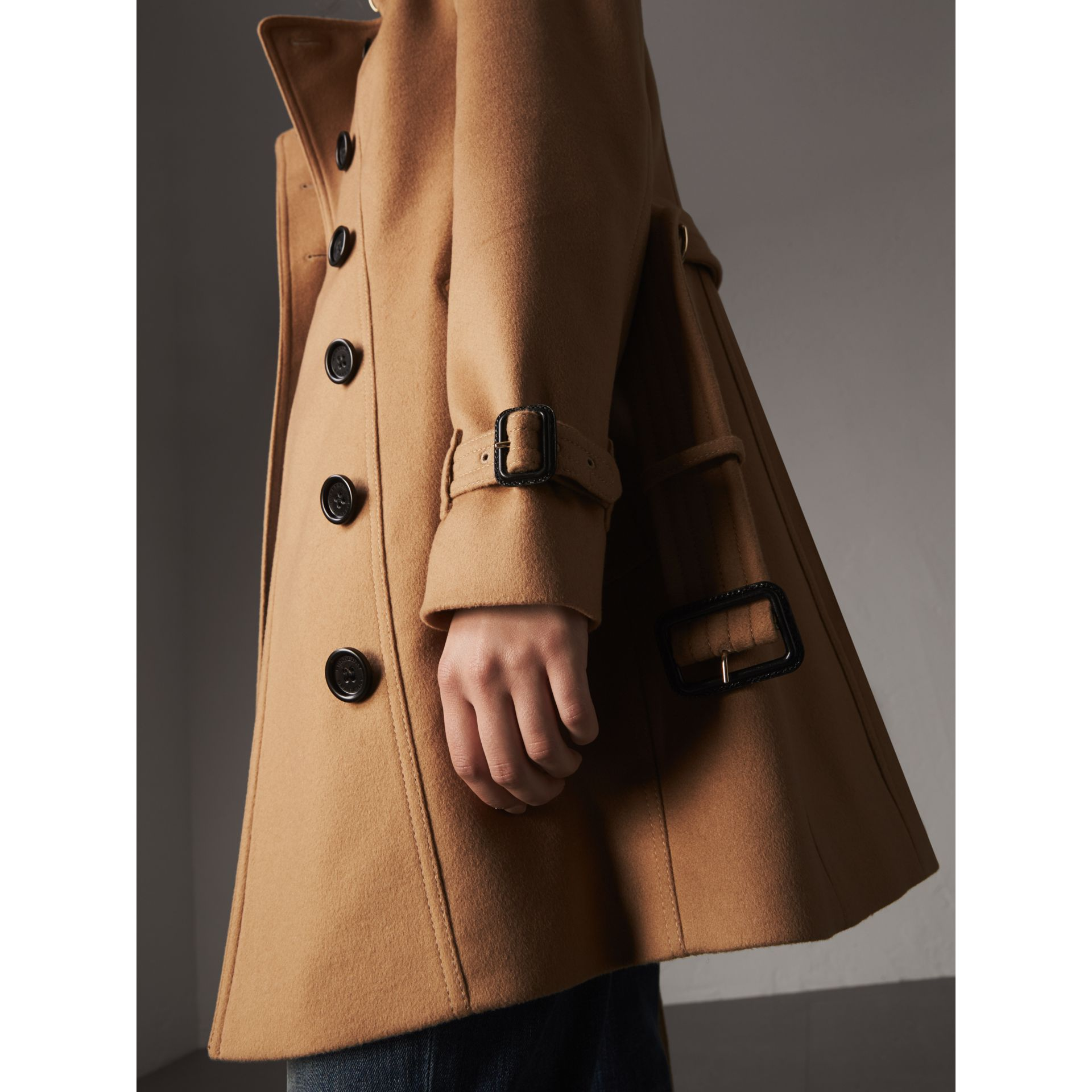 Wool Cashmere Trench Coat with Fur Collar in Camel - Women | Burberry United Kingdom - gallery image 1