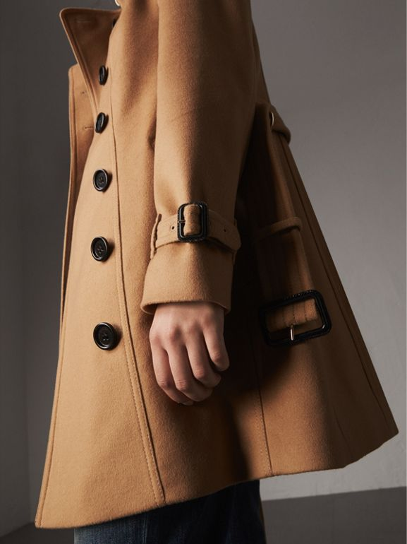 Wool Cashmere Trench Coat with Fur Collar in Camel - Women | Burberry - cell image 1