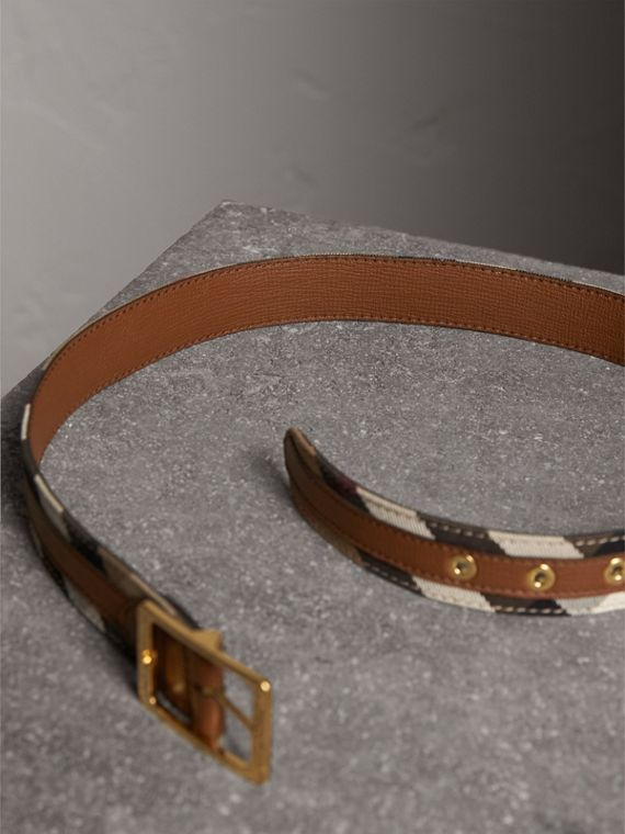 House Check and Grainy Leather Belt in Camel/tan - Women | Burberry Hong Kong - cell image 2
