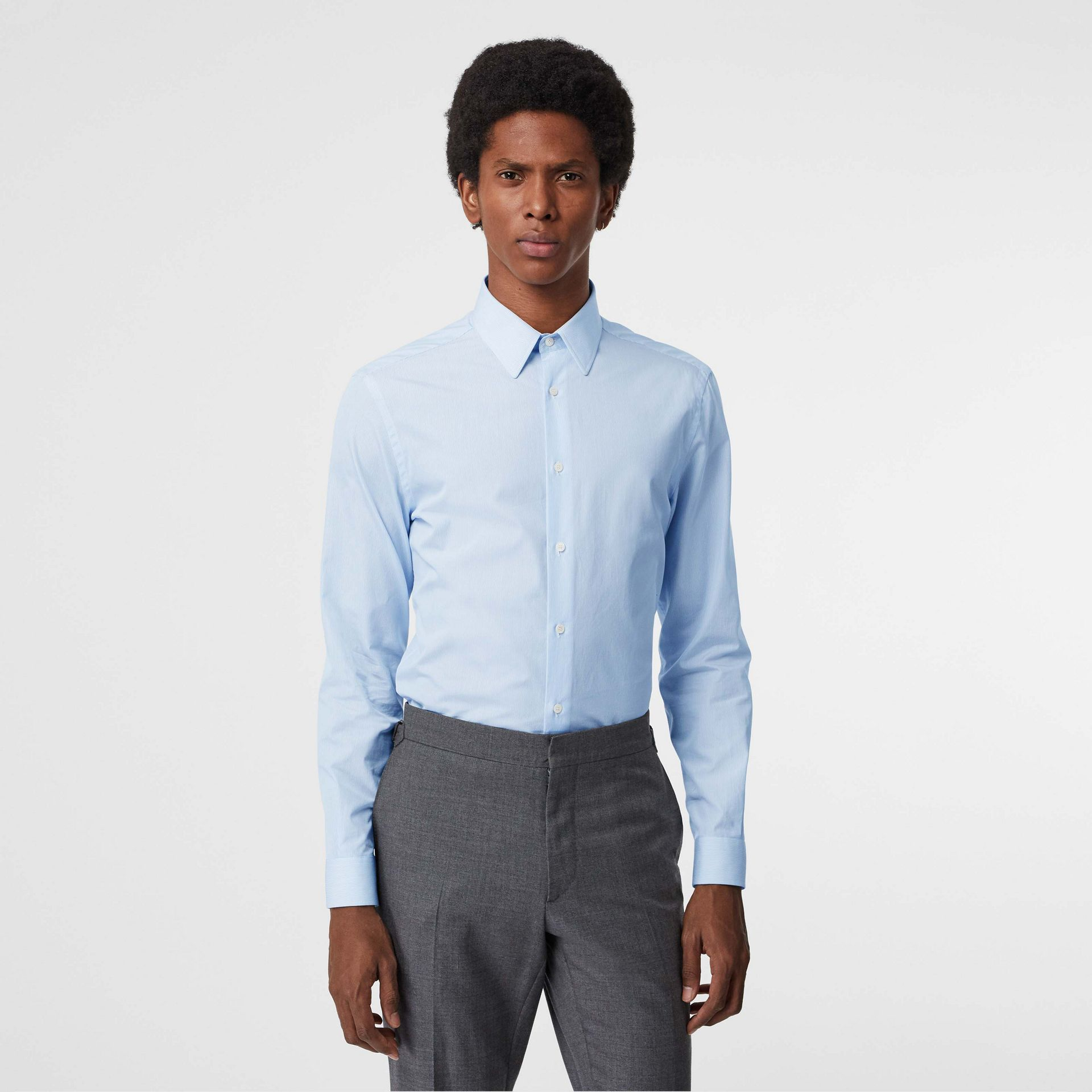 Slim Fit Cotton Poplin Shirt in City Blue - Men | Burberry United States - gallery image 4