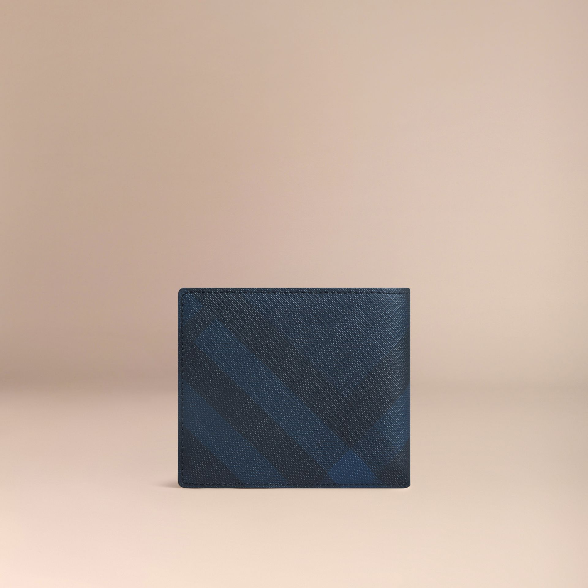 London Check ID Wallet in Navy/black - gallery image 3