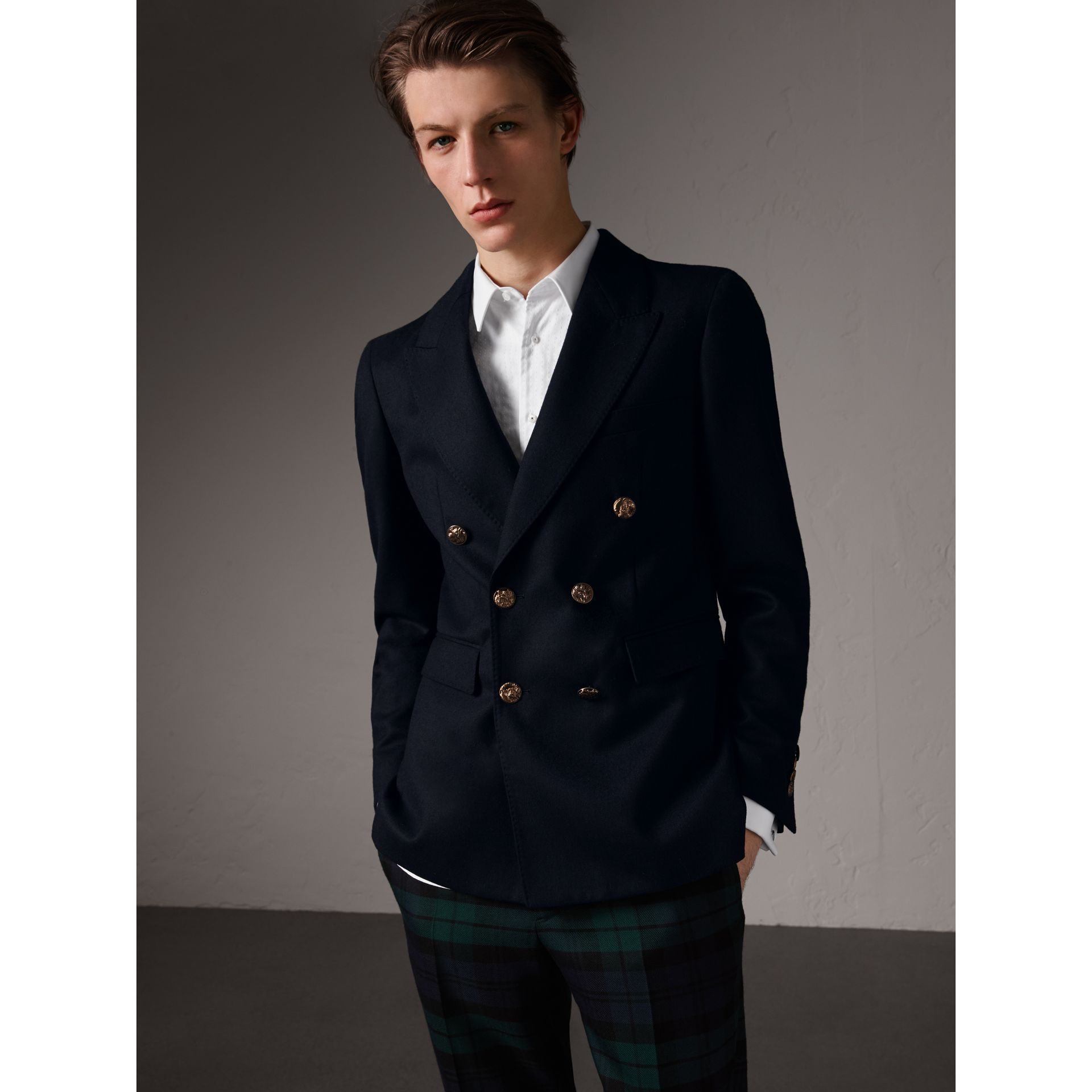 Slim Fit Wool Tailored Jacket with Bird Buttons in Navy - Men | Burberry United Kingdom - gallery image 1
