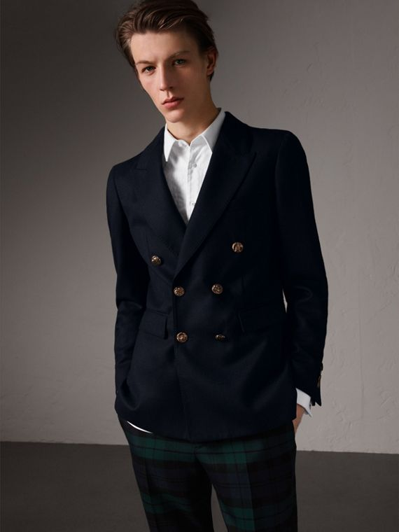 Slim Fit Wool Tailored Jacket with Bird Buttons in Navy